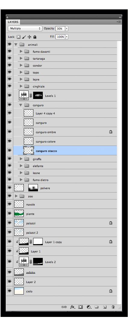 I livelli del file Photoshop: le cartelle contengono i livelli per ogni animale, cercando di organizzare al meglio l'ordine del lavoro